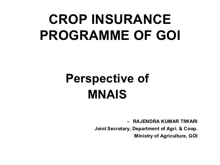 5 Feb 2011 R K Tiwari Joint Secretary Ministry of Agriculture GoI