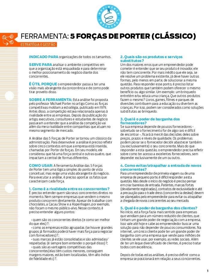 ferramenta: 5 FORÇAS DE PORTER (CLÁSSICO)estratégia e gestão    INDICADO PARA organizações de todos os tamanhos.          ...