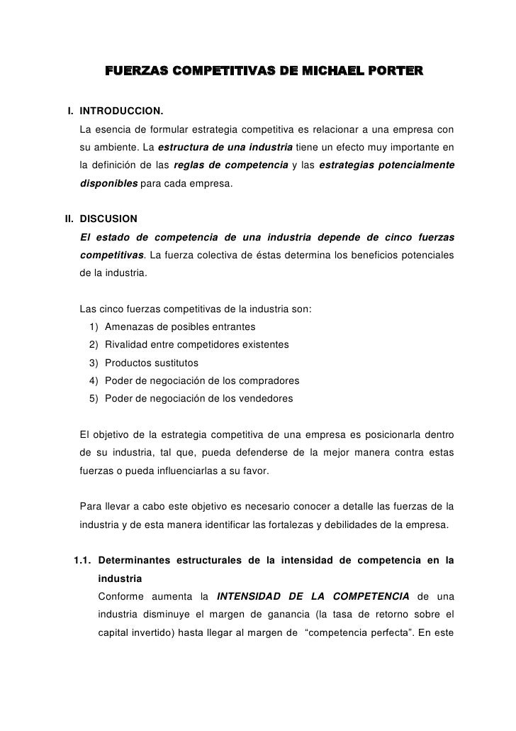 FUERZAS COMPETITIVAS DE MICHAEL PORTER<br />INTRODUCCION.<br />La esencia de formular estrategia competitiva es relacionar...