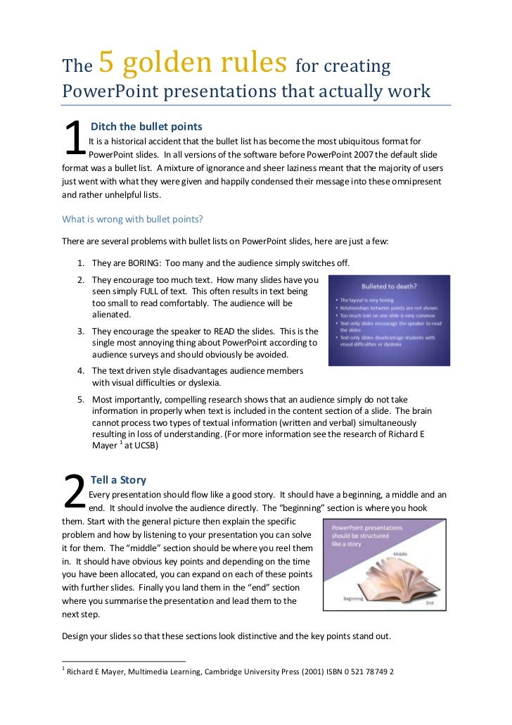 The 5 golden rules for creating PowerPoint presentations that actually work<br />1<br /> Ditch the bullet pointsIt is a hi...
