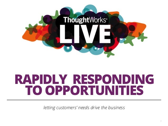RAPIDLY RESPONDING TO OPPORTUNITIES letting customers' needs drive the business 1