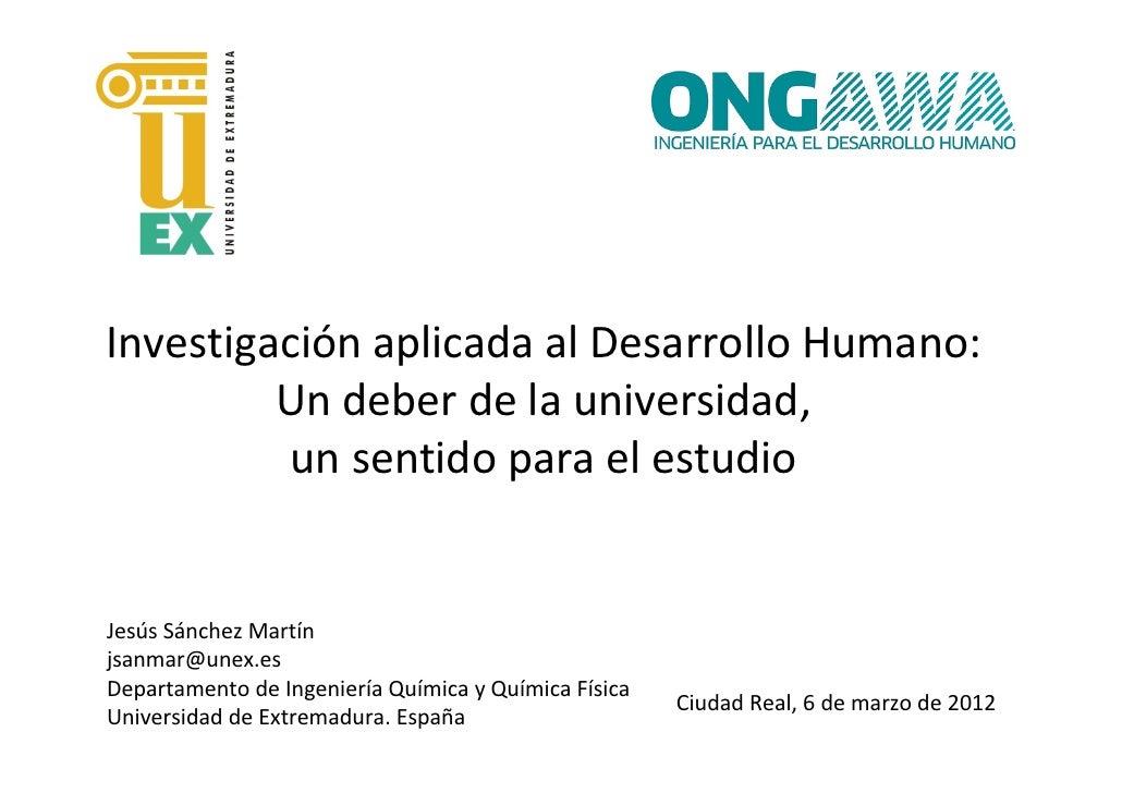 IV JCDI - 5_Jesús Sánchez_Investigación aplicada al desarrollo humano