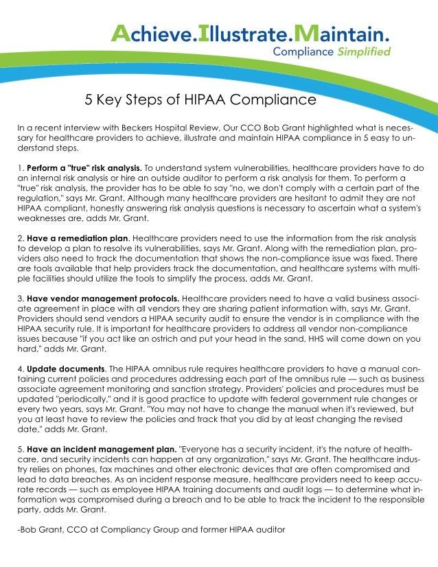 5 key steps of HIPAA compliance