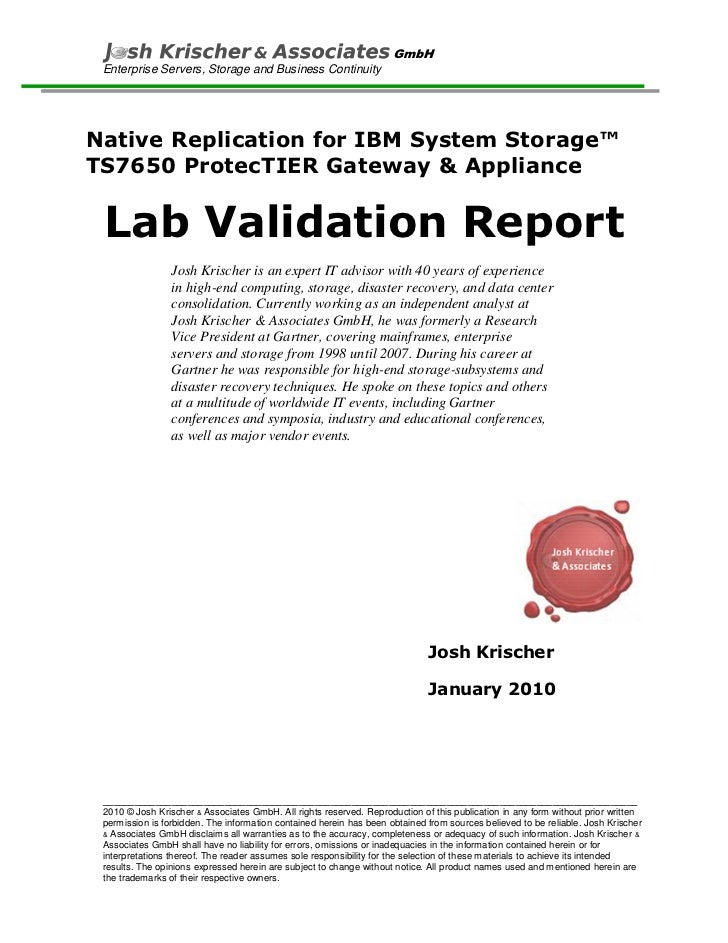 Lab Evaluation on ProtecTIER's IP Native Replication