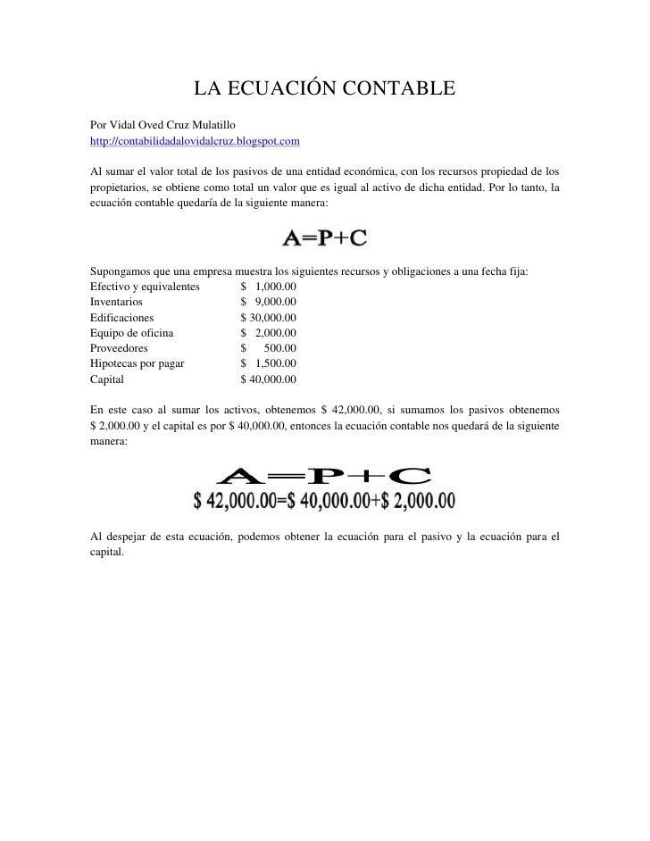 5 La EcuacióN Contable