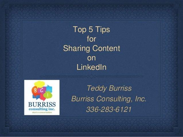 5 LinkedIn Sharing Tips