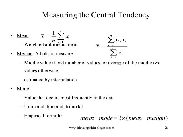 """arithmetic mean and central tendency Averages: arithmetic mean (average) more formally known as """"measures of central tendency"""": the arithmetic mean or common average, the median, and the mode."""