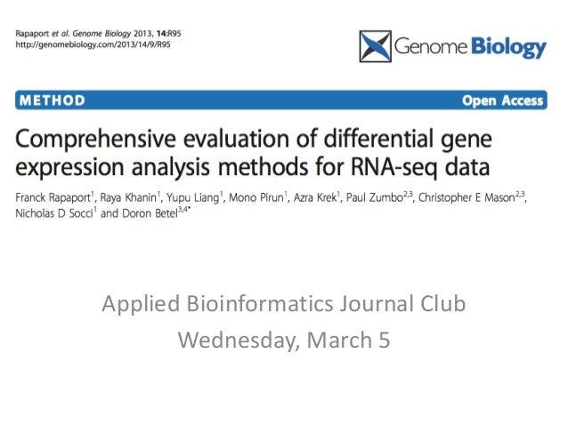 RNASeq DE methods review Applied Bioinformatics Journal Club