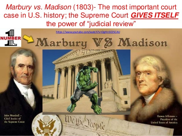 an analysis of the marbury v madison supreme court case Monroe county board of education: case in an analysis of the marbury v madison supreme court case which the u article iii, section i states that.