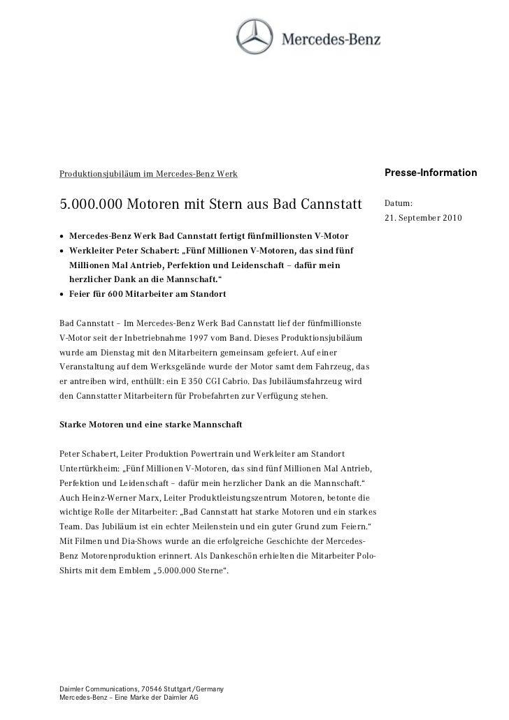 Produktionsjubiläum im Mercedes-Benz Werk                                           Presse-Information5.000.000 Motoren mi...