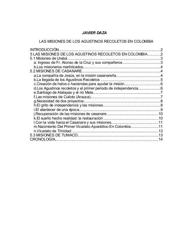 JAVIER DAZA LAS MISIONES DE LOS AGUSTINOS RECOLETOS EN COLOMBIA INTRODUCCIÓN.................................................