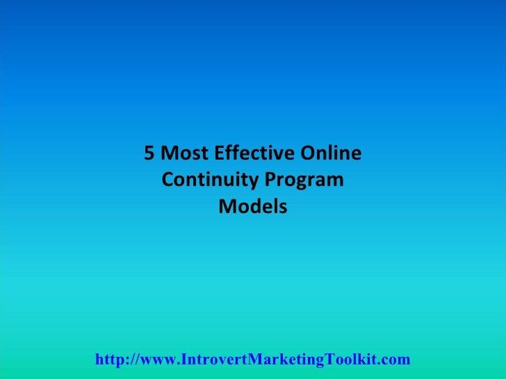 5 most effective online continuity program models