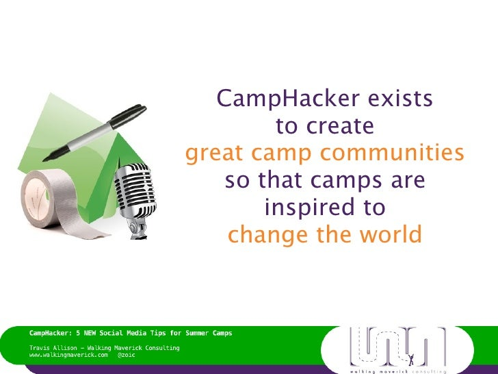 CampHacker exists        to creategreat camp communities   so that camps are       inspired to    change the world