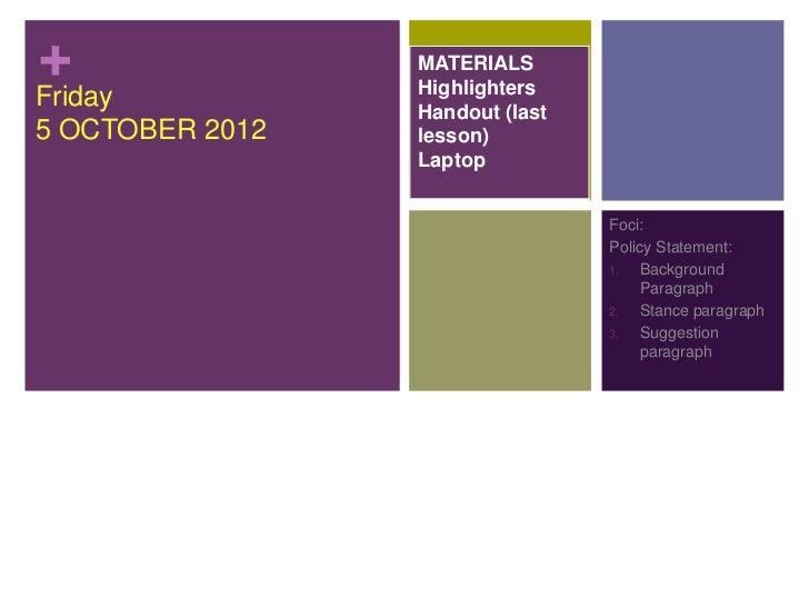 +                MATERIALS                 HighlightersFriday           Handout (last5 OCTOBER 2012   lesson)             ...