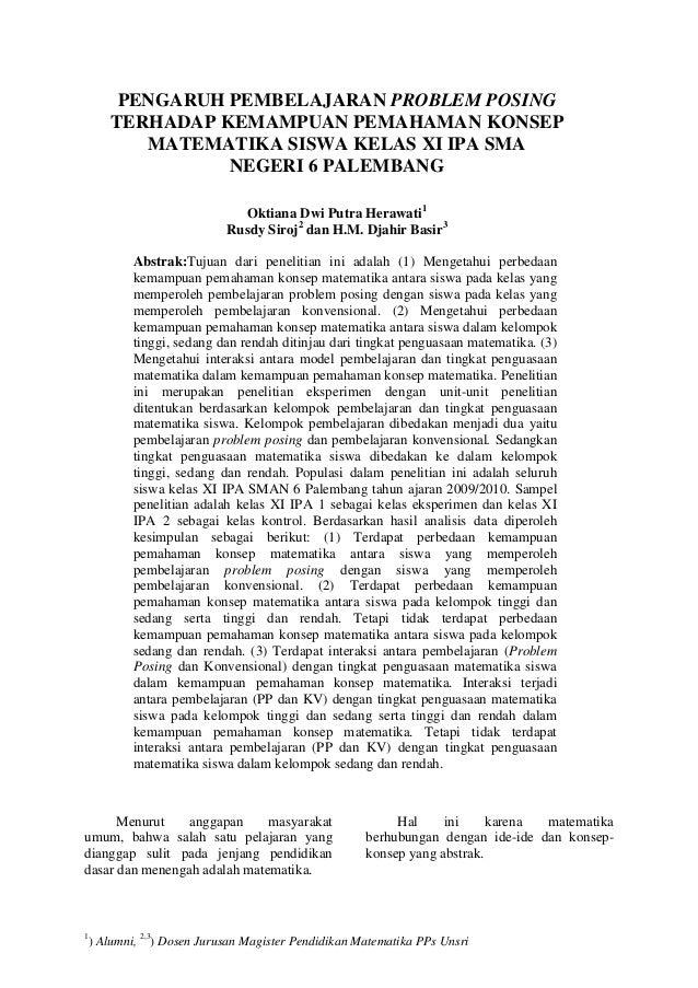PENGARUH PEMBELAJARAN PROBLEM POSING       TERHADAP KEMAMPUAN PEMAHAMAN KONSEP          MATEMATIKA SISWA KELAS XI IPA SMA ...