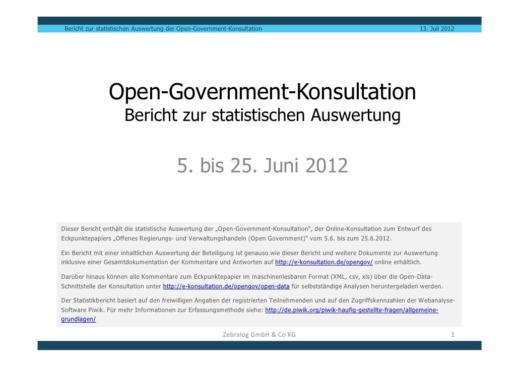 Bericht zur statistischen Auswertung der Open-Government-Konsultation                                                     ...