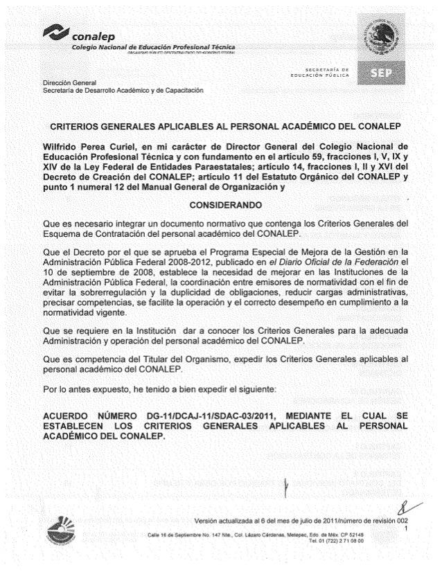 Criterios Generales Aplicables al Personal Académico de CONALEP