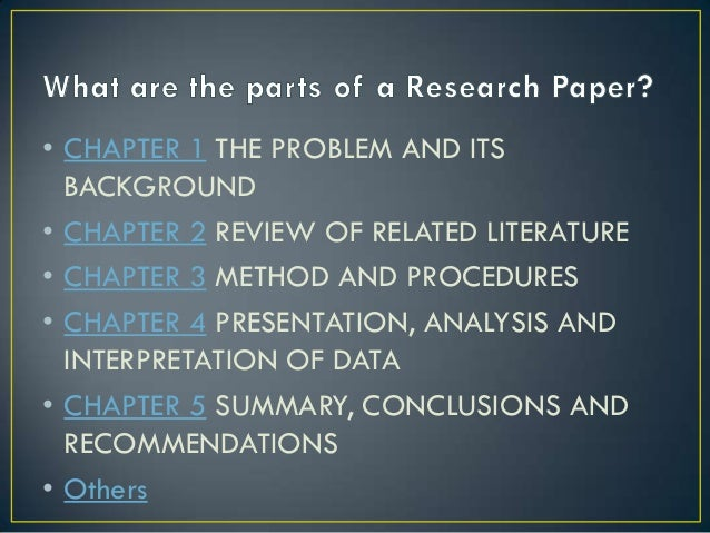 Help writing a research paper chapter 1 pdf