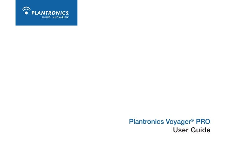 Plantronics Voyager PRO User Guide