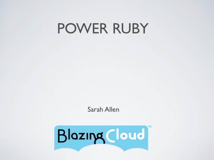 POWER RUBY   Sarah Allen