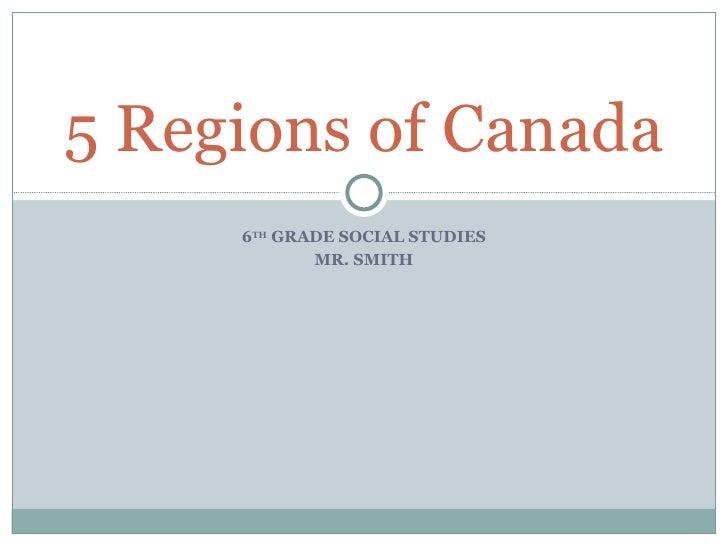 5 regions of canada