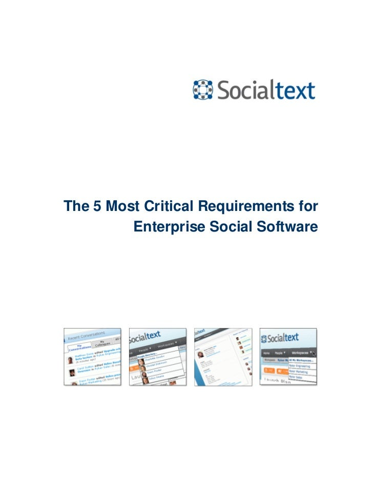The 5 Most Critical Requirements for         Enterprise Social Software