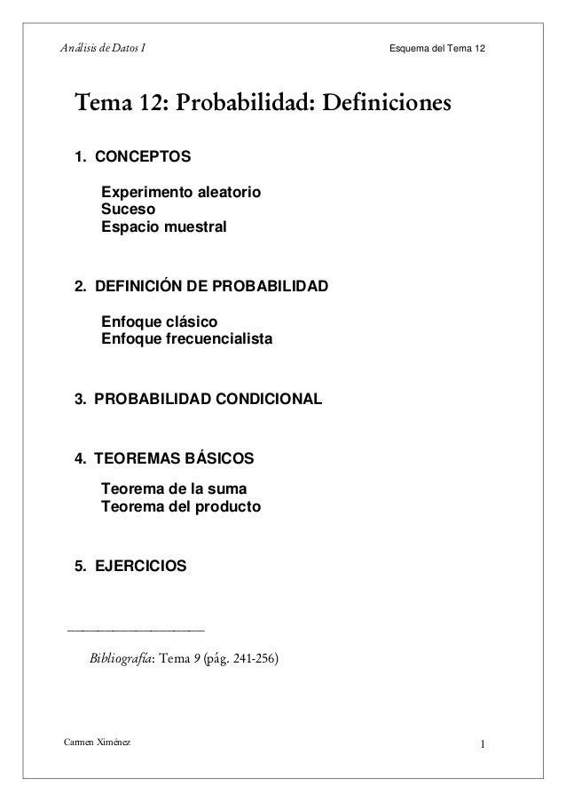Análisis de Datos I                         Esquema del Tema 12   Tema 12: Probabilidad: Definiciones   1. CONCEPTOS      ...