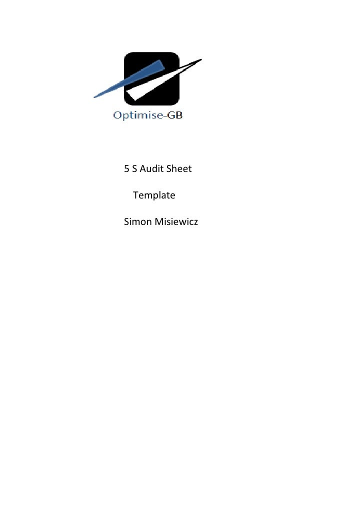 5 S Audit Sheet TemplateSimon Misiewicz