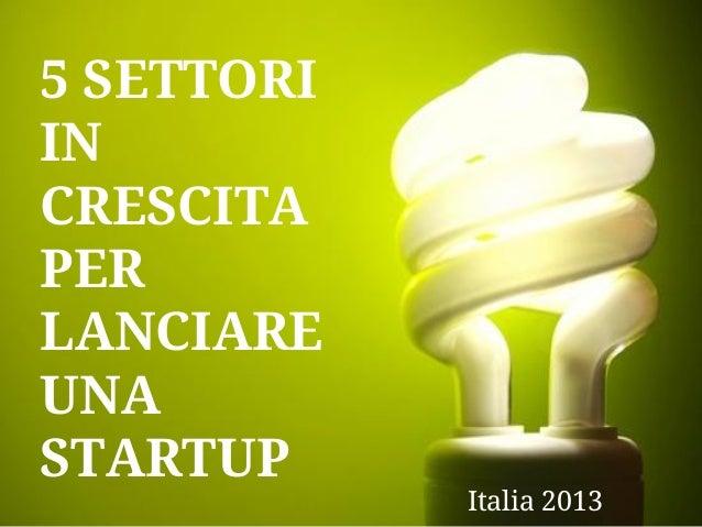 5 SETTORI IN CRESCITA PER LANCIARE UNA STARTUP  Italia 2013