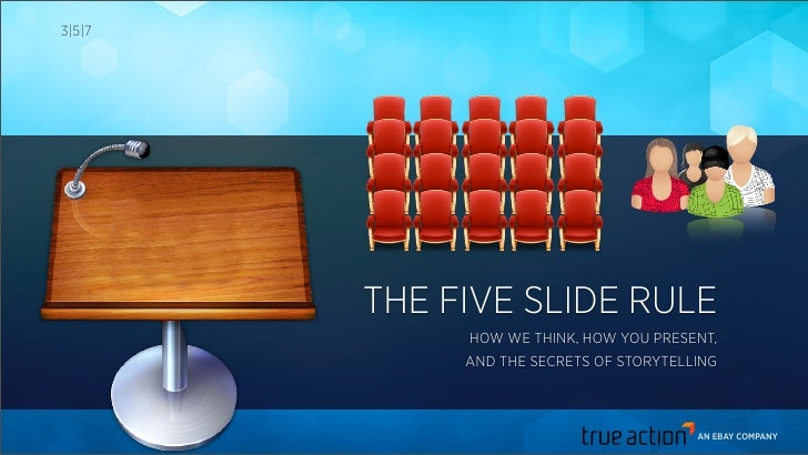 3|5|7        THE FIVE SLIDE RULE             HOW WE THINK, HOW YOU PRESENT,             AND THE SECRETS OF STORYTELLING   ...