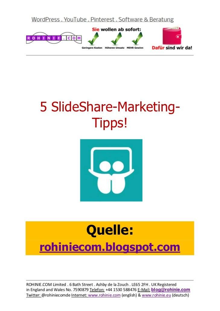5 SlideShare-Marketing-Tipps