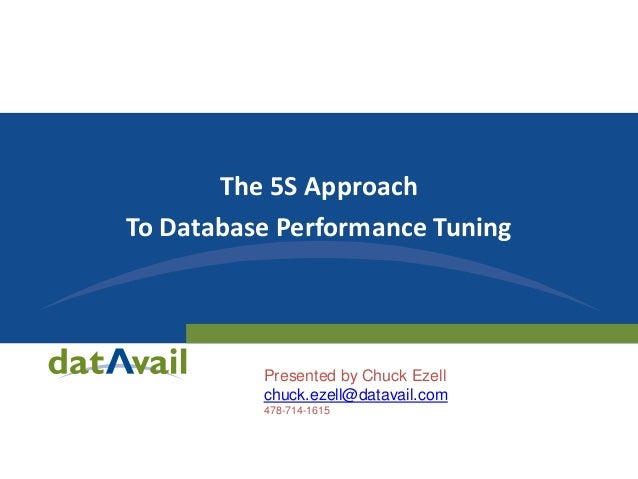 The 5S Approach To Database Performance Tuning  Presented by Chuck Ezell chuck.ezell@datavail.com 478-714-1615