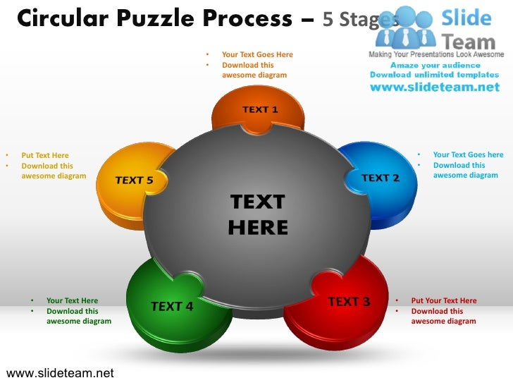 Circular Puzzle Process – 5 Stages                            •   Your Text Goes Here                            •   Downl...