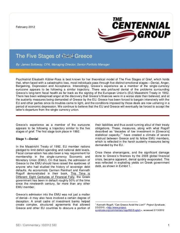February 2012The Five Stages of Grief GreeceBy: James Solloway, CFA, Managing Director, Senior Portfolio ManagerPsychiatri...