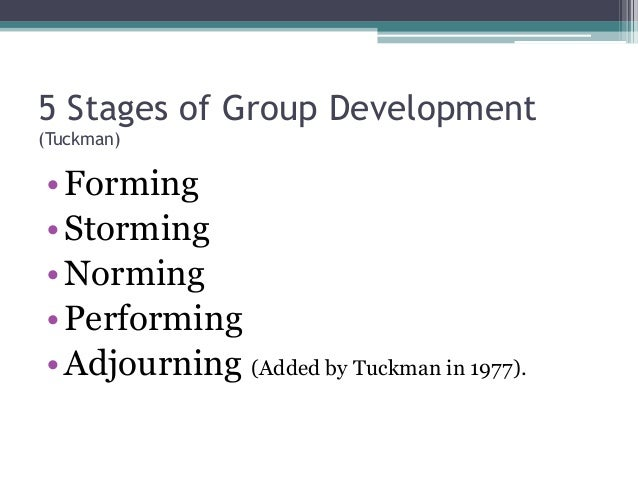 tuckman group 5 assignment The following group activities are intended to have students work together for the   five suggestions for gatherings of people that would be considered teams   each stage of tuckman's team development model is briefly outlined below: 1.