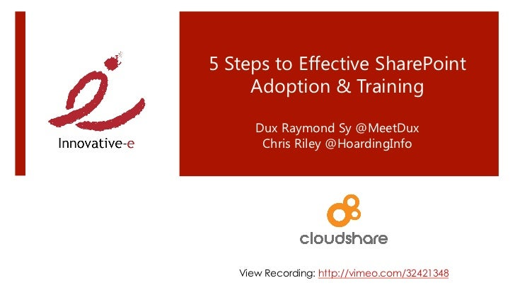 5 Steps to Effective SharePoint Training and Adoption