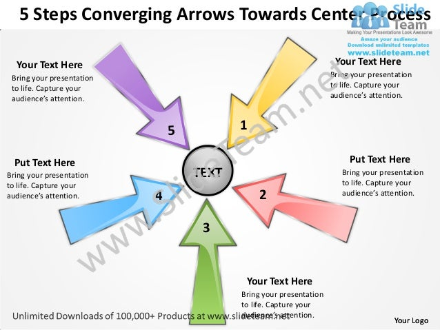 5 steps converging arrows towards center process software power point templates