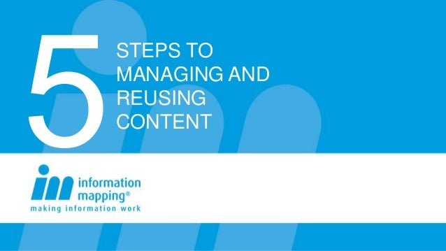 STEPS TO MANAGING AND REUSING CONTENT
