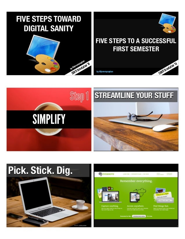 1  FIVE STEPS TOWARD  DIGITAL SANITY  by @jeremycaplan  CUNYJ Orientation '14  2  FIVE STEPS TO A SUCCESSFUL  FIRST SEMEST...