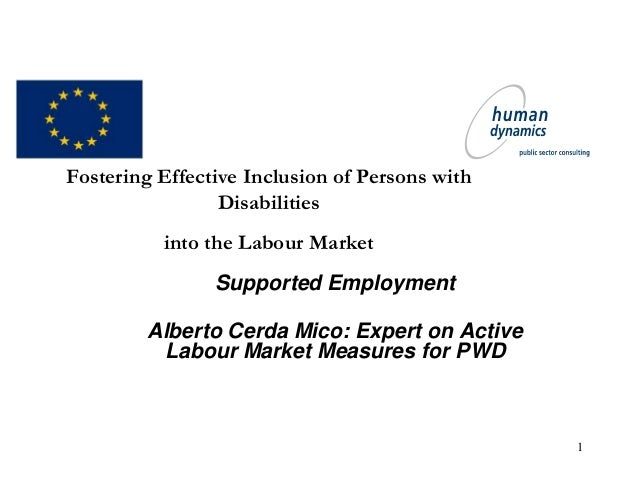 1 Fostering Effective Inclusion of Persons with Disabilities into the Labour Market Supported Employment Alberto Cerda Mic...