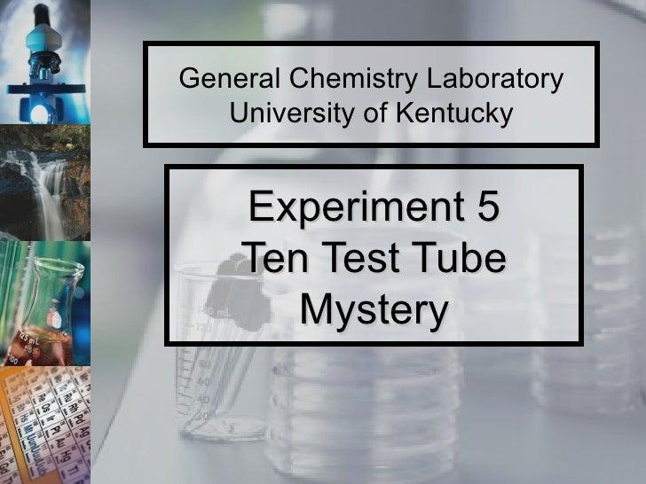 Experiment 5 Ten Test Tube Mystery