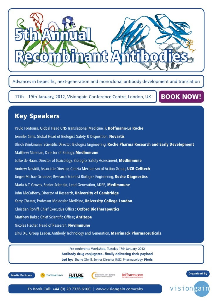 5th Annual  Recombinant AntibodiesAdvances in bispecific, next-generation and monoclonal antibody development and translat...
