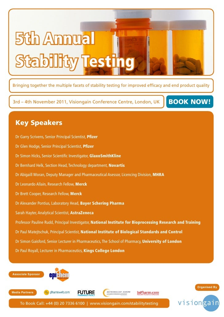 5th Annual  Stability TestingBringing together the multiple facets of stability testing for improved efficacy and end prod...