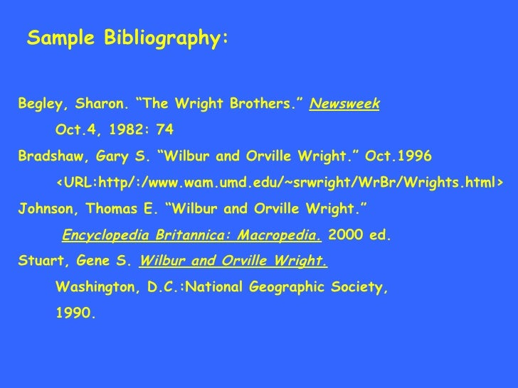 Bibliography for an encyclopedia