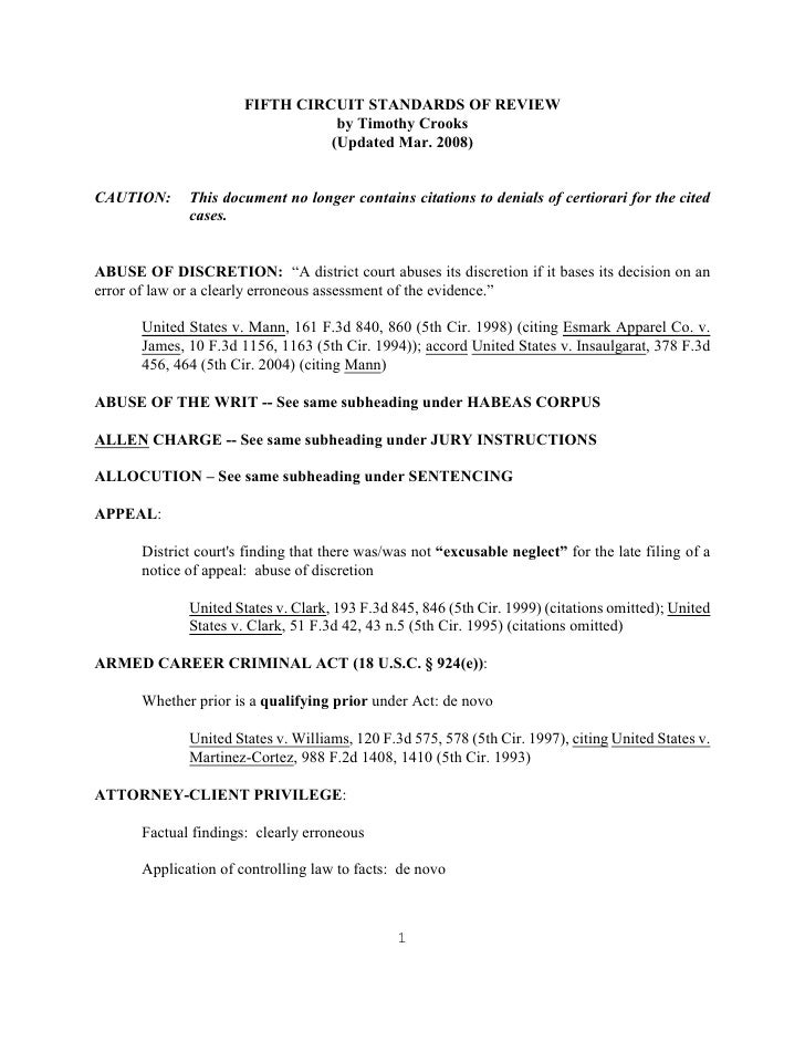 FIFTH CIRCUIT STANDARDS OF REVIEW                                 by Timothy Crooks                                (Update...