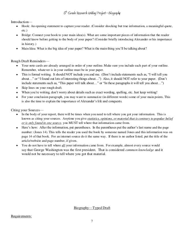 5th grade biography book report outline