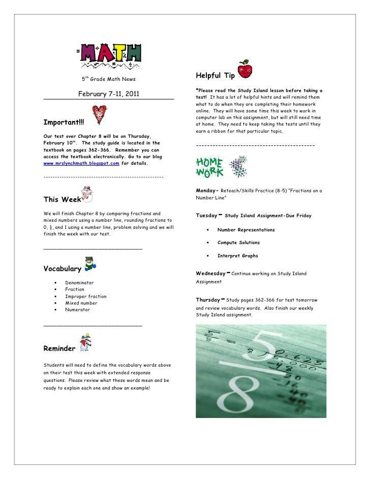 5th Grade Math News                                                               Helpful Tip                             ...