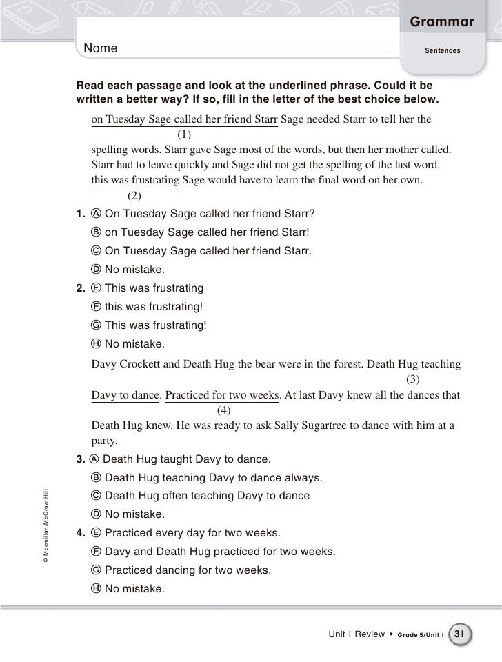5th Grade Grammar Worksheets With Answers 9088296 Virtualdirfo