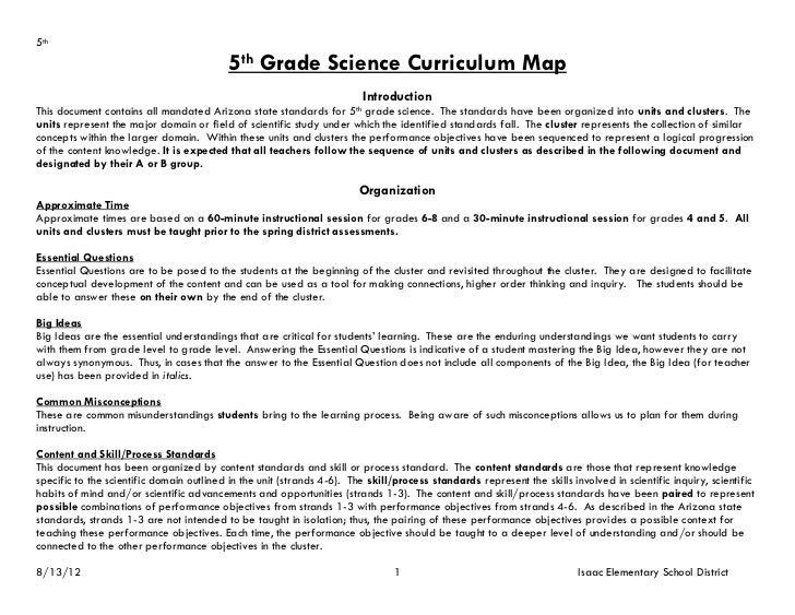 5th                                           5th Grade Science Curriculum Map                                            ...