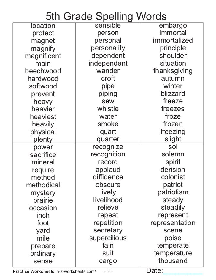 Fifth Grade Spelling Lists Yourhelpfulelf – 5th Grade Spelling Worksheets